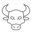 bull thin line icon animal and zoo vector image vector image