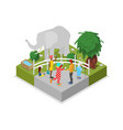 cage with elephant isometric 3d icon vector image