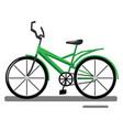 cartoon green bike on white background vector image