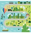 Cartoon map with road vector image vector image