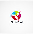 circle food with modern colorful logo designs vector image vector image