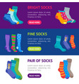colorful fun socks banner horizontal set vector image vector image