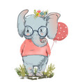 cute elephant with balloon vector image vector image