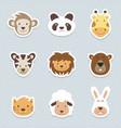 cute set of cartoon animals stickers vector image