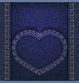 denim heart sewn on jeans backdrop valentines day vector image vector image