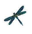 dragonfly insect spiral pattern color silhouette vector image