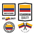 ecuador quality label set for goods vector image vector image