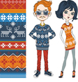 Fashion hipster boy and girl in knitted sweaters vector image