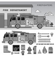 fire-engine standing on street line vector image vector image