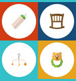 flat infant set of mobile infant cot rattle and vector image