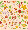 forest seamless pattern with cute flowers vector image