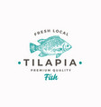 fresh local tilapia abstract sign symbol vector image vector image
