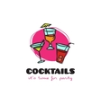 funny cartoon style cocktail bar logo with vector image vector image