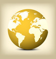 gold globe icon on yellow background vector image vector image