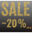 gold sale 20 percent golden sale 20 percent on vector image