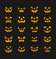 Halloween face set flat design symbol collection