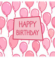 happy birthday sign on pink balloon background vector image