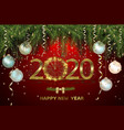 happy new year 2020 with gold clock vector image vector image