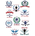 Ice hockey sport game emblems vector image vector image