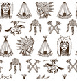 indian or native american seamless pattern axes vector image