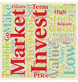Investments guide text background wordcloud vector image vector image