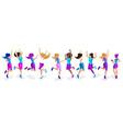 isometric a large set female athletes jumpin vector image