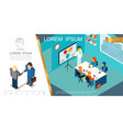 isometric business management concept vector image vector image