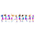 isometric of a large set of female athletes jumpin vector image