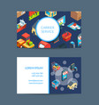 isometric shipping delivery business card vector image vector image