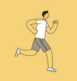 jogging man sport fitness concept linear style vector image