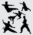 kung fu fight and martial art silhouette vector image vector image