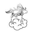 line sleeping girl with beauty unicorn in the vector image vector image