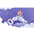 merry christmas design card with children sledding vector image vector image