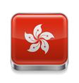 Metal icon of Hong Kong vector image