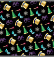 new years eve pattern on black vector image vector image