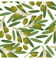 olive branch seamless pattern greek olives vector image vector image