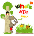 playing hide and seek with cute animals cartoon vector image