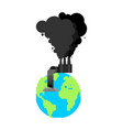 pollution earth plant and smoke black planet vector image vector image