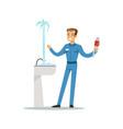 proffesional plumber man character repairing vector image vector image