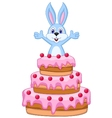 Rabbit inside the cake - birthday card vector image vector image