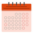 red calendar flat icon vector image vector image