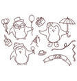 set hand drawn birthday elements with penguin vector image vector image
