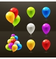 toy balloons set icons on black vector image vector image