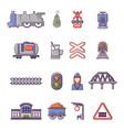 train railroad icons set cartoon style vector image vector image