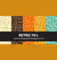 triangle pattern set retro 70s seamless vector image vector image