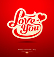 Valentines Day message design on red background vector image vector image
