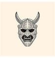 vintage japanese demon oni mask logo design vector image vector image