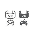 vr gaming line and glyph icon device and vector image vector image