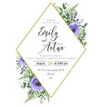 wedding floral invite save date card vector image vector image