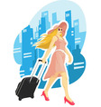 Woman Tourist Travelling with City Background vector image vector image